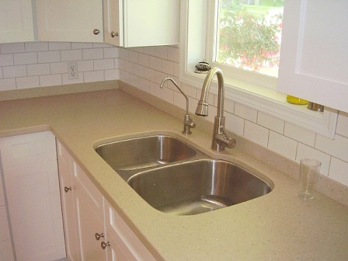 solid surface kitchen countertop with undermount sink
